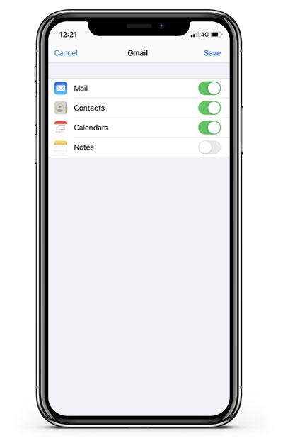Email Setup - Tap Save